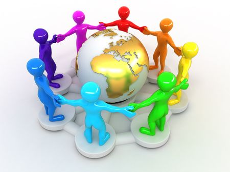 harmony united: Group of people around of earth. 3d Stock Photo