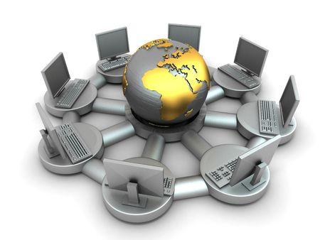 通信: インターネットの概念図。3 d 写真素材