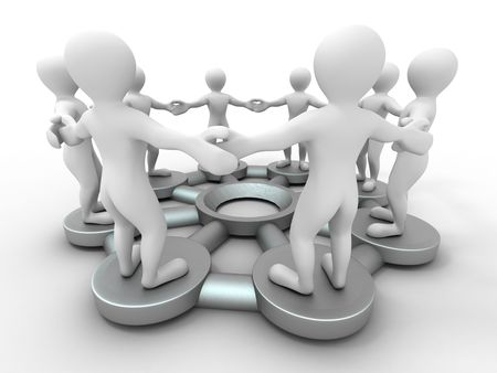 Group of people. Conceptual image of communications or teamwork. 3d photo