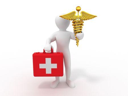 men with symbols of medicine. 3d photo