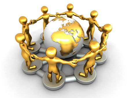 Group of people around of earth. 3d Stock Photo - 7591671