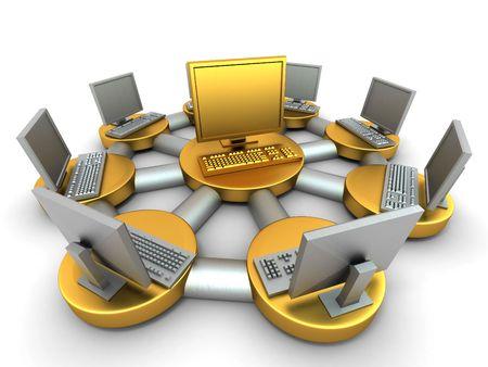 information medium: Conceptual image of local net. 3d