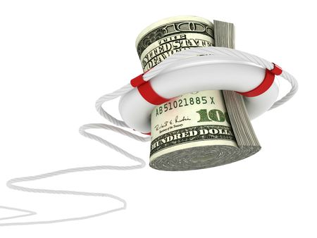 Lifebouy with dollar. 3d Stock Photo - 7591668