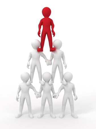 human pyramid: Pyramid from people. Leadership. 3d