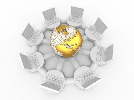 Conceptual image of internet. 3d Stock Photo - 7638345