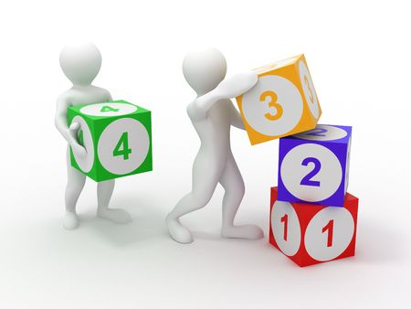 building activity: Men with cubes. Numbers. 3d Stock Photo