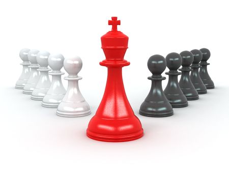 chess king: king and pawns. Leadership. 3d