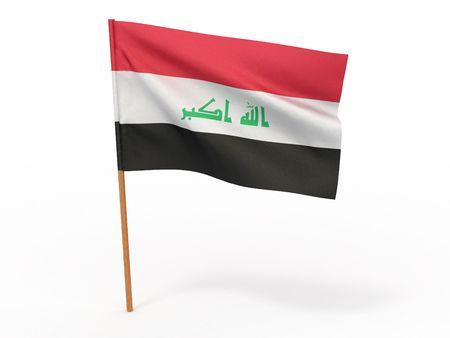 flag fluttering in the wind Iraq. 3d photo