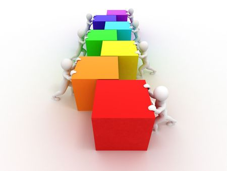 Men with cubes. Teamwork. 3d Stock Photo - 7677173