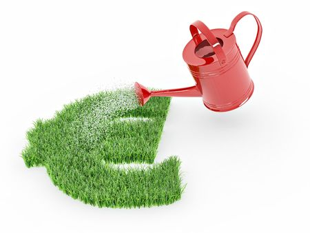 Watering lawns in the form of sign euro. 3d Stock Photo - 7694946