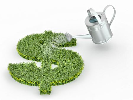 money making: Watering lawns in the form of sign dollar. 3d Stock Photo