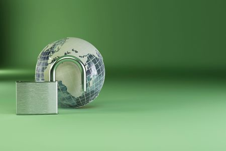 Earth with padlock on green background. 3d photo
