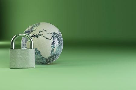 Earth with padlock on green background. 3d Stock Photo - 7797303