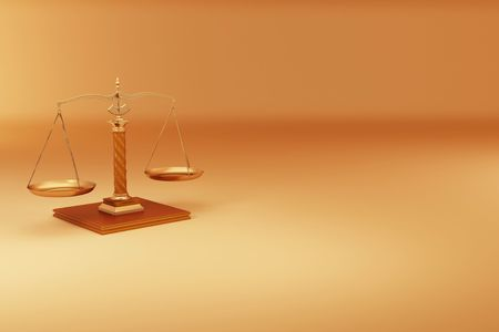 justice scales: Scale on yellow background. Symbol of justice. 3d Stock Photo