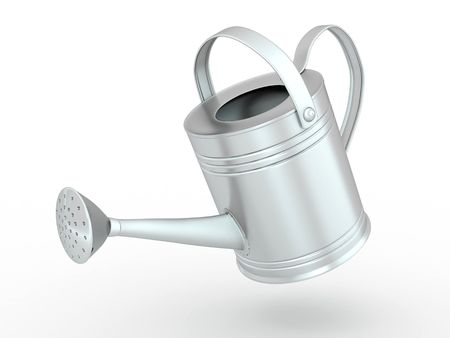 Watering can on white isolated background. 3d photo