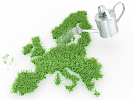 Watering lawns in the form of Europe. 3d Stock Photo - 7797354