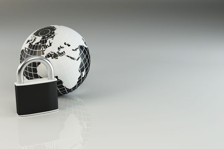 Earth with padlock on grey background. 3d Stock Photo - 7797336