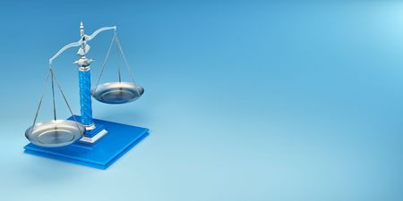 legal icon: Scale on yellow background. Symbol of justice. 3d Stock Photo