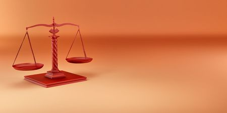Scale on yellow background. Symbol of justice. 3d photo