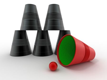 magical equipment: Pyramid from inverted  plastic cups on isolated background. 3d