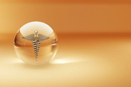caduceo: S�mbolo de la medicina. Fondo abstracto. 3D