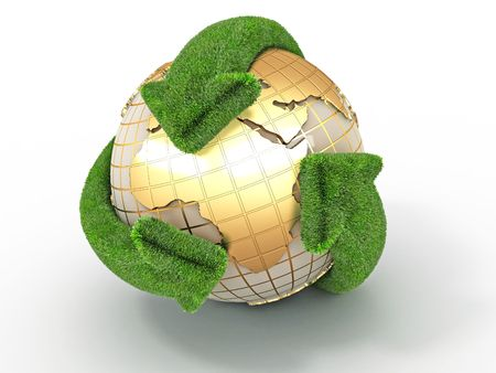 conservation: Earth with turning arrows. Recycling symbol. 3d