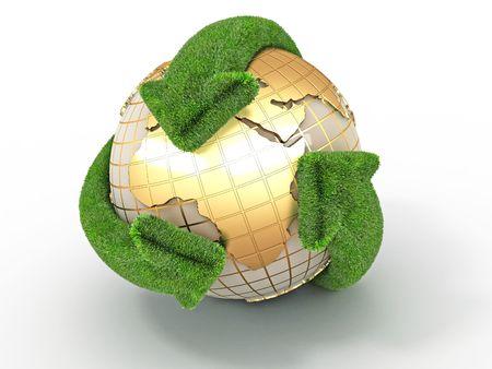 reciclar: Tierra con flechas en cuanto. S�mbolo de reciclaje. 3D
