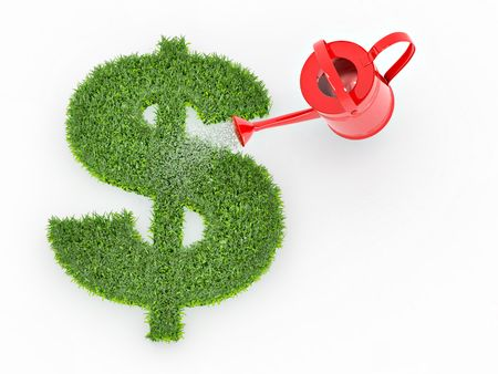 watering plants: Watering lawns in the form of sign dollar. 3d Stock Photo