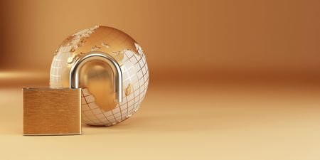 Earth with padlock on yellow background. 3d Stock Photo - 7826772