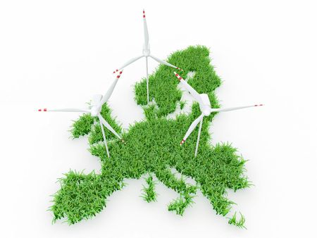 land development: Wind power generators on the map of Europe. 3d Stock Photo