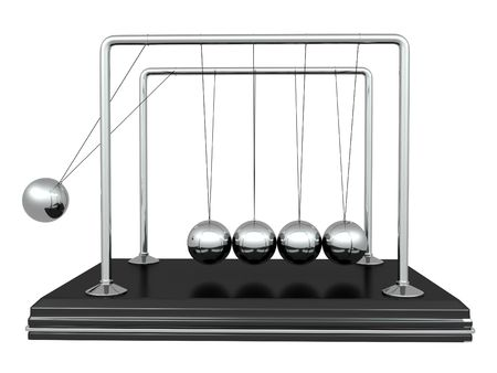 gravitational: Perpetual motion. Pendulum on white isolated background. 3d