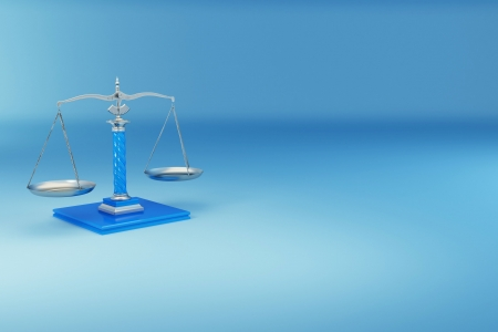 scales of justice: Scale on blue background. Symbol of justice. 3d Stock Photo