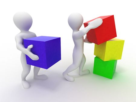 red building blocks: Men with cubes. Teamwork. 3d Stock Photo