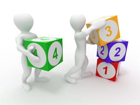 cartoon numbers: Men with cubes. Numbers. 3d Stock Photo