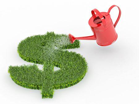 Bewässerung Rasenflächen in Form von Zeichen-Dollar. 3D