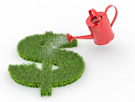 water can: Watering lawns in the form of sign dollar. 3d Stock Photo