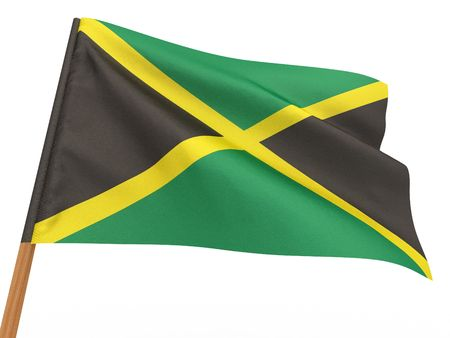 flag fluttering in the wind. Jamaica. 3d Stock Photo - 8049992