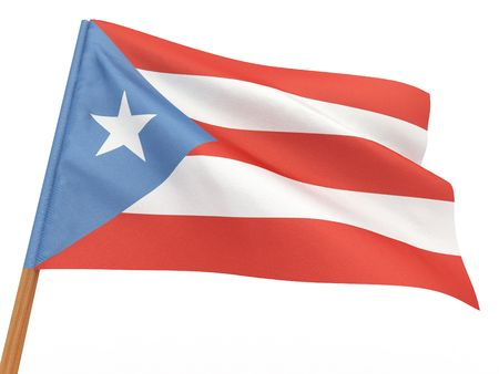 puertorico: flag fluttering in the wind. Puerto-Rico. 3d