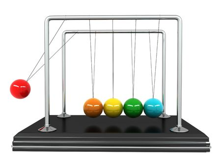 newton's cradle: Perpetual motion. Pendulum on white isolated background. 3d