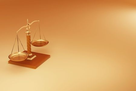 Scale on yellow background. Symbol of justice. 3d Stock Photo - 8049963