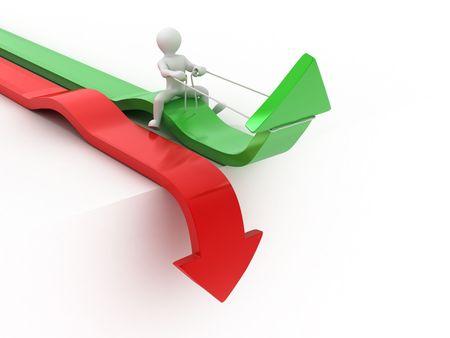 strategy decisions: Men on arrow. Conceptual image of success. 3d Stock Photo