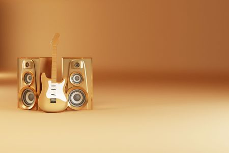 Golden guitar and louspeakers on yellow background. 3d photo