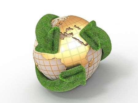 Earth with turning arrows. Recycling symbol. 3d Stock Photo - 8049988