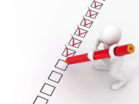 questionnaire: men with red pen on questionnaire. 3d Stock Photo