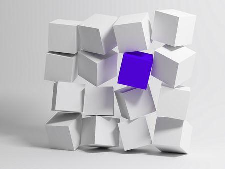 Wall of Cubes. Conceptual image of unique. 3d photo