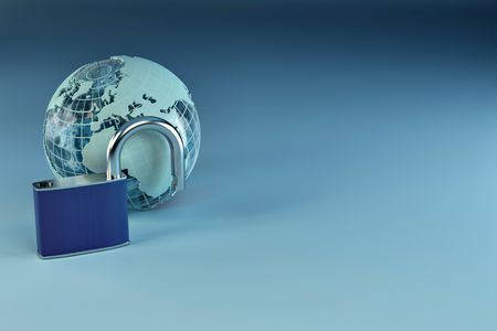 Earth with padlock on blue background. 3d photo