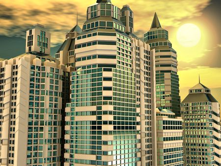 Skyscrapersand  and sunrise. Abstract urban Background. 3d Stock Photo - 8066308
