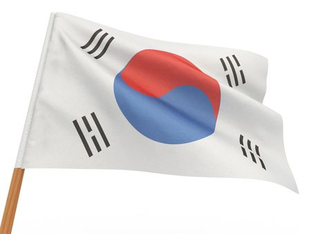 flag fluttering in the wind. South Korea. 3d photo