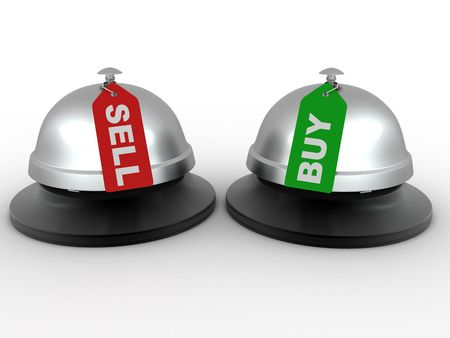 clang: Hotel bell with labels buy and sell. 3d
