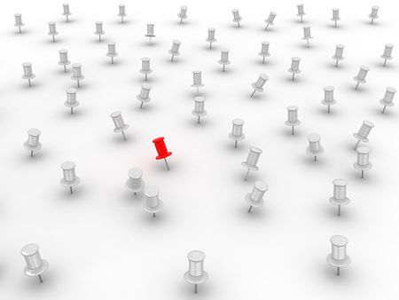straight pin: Many thumbsticks on white isolated background. 3d